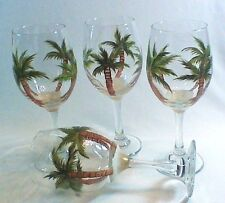 HAND PAINTED WINE GLASSES WITH TROPICAL PALM TREES**Set of 4 Large 20 oz. Size