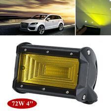 4'' 72W LED Work Fog Light 10-30V Flood Beam Yellow Lens for Car Truck Off Road