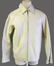 leather racing stripe jacket M white brown vintage cafe punk 1990s hip hop elvis
