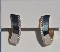 Echt  925 Sterling  Silber Ohrringe Creolen vergoldet Zirkonia mm Nr 336Z