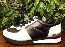 MICHAEL KORS WOMENS SIZE 10 LACE UP TRAINER SNEAKER HL164 BLACK/WHITE THESPOT917
