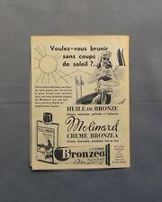 PUB PUBLICITE ANCIENNE ADVERT CLIPPING 100517 / HUILE ET CREME BRONZEA MOLINARD