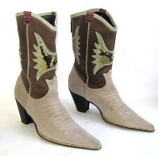 GUESS Bottines boots santiags cuir daim beige marron 36 TRES BON ETAT