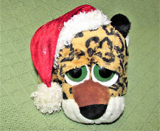 "Fiesta CHRISTMAS LEOPARD Plush Stuffed BIG EYE Cat 8.5"" Santa Hat BEAN BAG Toy"