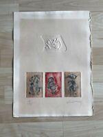 Hoi Lebadang French Vietnamese Artist Signed Intalgio Etching Print 109/195