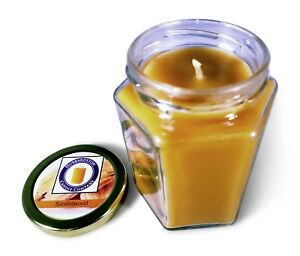 Sandalwood Scented 100 Percent  Beeswax Jar Candle, 8 oz