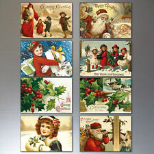Christmas fridge magnets 8 Traditional Victorian Vintage Christmas Scenes No.1