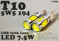 2 x T10 CREE 7.5W LED W5W 12V WHITE Parker Wedge Side Light Bulbs Car Globes