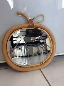 miroir rotin osier vintage ancien pomme années 60 70