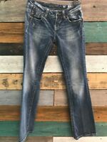 MISS ME for Buckle JE5002E64X Easy Boot Flap Pocket Blue Jeans Women's 25