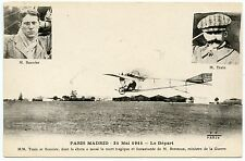 PARIS MADRID 1911.LE DéPART. MM.TRAIN ET BONNIER. BERTEAUX.MINISTRE DE LA GUERRE