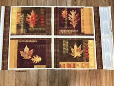 Fall Harvest Leaves Amber Reflections Cotton Placemats Fabric Panel craft sew
