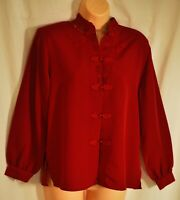 womens maurada bright red dressy top size 4 petite lg sleeves oriental brand new
