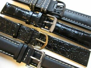 Lot of 4 black leather watch bands 22 mm ** NEW **