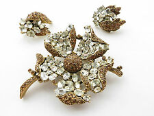 Rare Vintage 1950's / 60's Crown Trifari Goldtone Rhinestone Brooch & Earrings