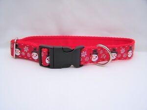 Christmas dog collar gift red snowmen medium to large