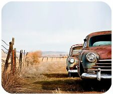 MOUSE PAD PERSONALIZED CUSTOM THICK MOUSEPAD-VINTAGE CARS WITH FENCE-ADD TEXT