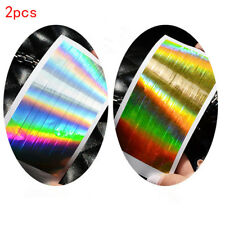 2PCS Holographic Tape Strip Nail Art Stickers Holo Stripe Line Foil Decal 13*6mm