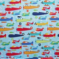 FQ Boys Planes Soar Aqua fabric by Michael Miller