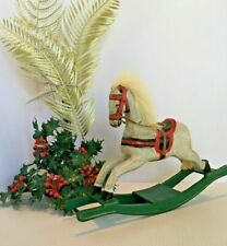 Handcrafted Wooden Christmas Rocking Horse Green Base Primitive Decor 11x7""