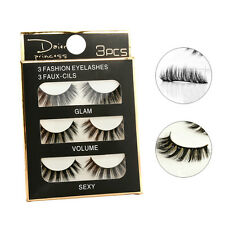 3 Pairs 100% Real Mink Luxurious Natural Thick Soft Lashes False Eyelashes Sexy