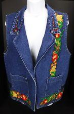 Apples & Nuts Denim Vest Blue Jean Fall Harvest Leaves Vtg 80s-90s
