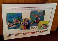 """RARE Authentic Original 32.5"""" x 22.5"""" LEROY NEIMAN Signed 1984 Olympic Poster"""