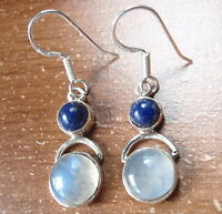 Blue Lapis and Moonstone Double Round 925 Sterling Silver Dangle Earrings