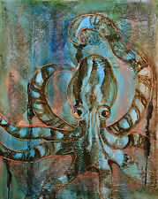 Octopus Tentacles Striped Metallic Copper Texture - 18x24 Signed Print On Canvas
