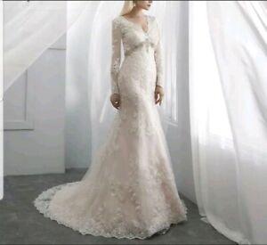UK  Champagne Bridal Long Sleeve Lace Crystal Mermaid Wedding Dresses Size 10