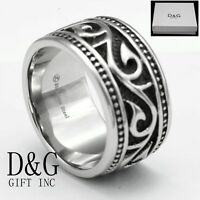 DG Mens Stainless Steel Silver Black 14mm Band Rings,9 10,11 12 13 14 Box