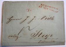 Austria Österreich Cover Letter Brief - from Augsburg to Steyr 1848 via Linz