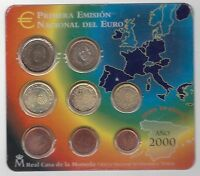 SPAIN - 8 DIF UNC COINS MINT SET: 1 CENT - 2 EURO 2000 YEAR IN MINT PACK