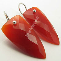 """925 Sterling Silver CARNELIAN Fancy Triangle Gemset Urban Style Earrings 1.5"""""""