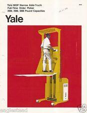 Fork Lift Truck Brochure - Yale - MOP - Order Picker Narrow Aisle - c1973 (LT07)