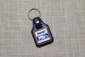 Ford Transit Mk2 Van Keyring - Leatherette & Chrome Keytag
