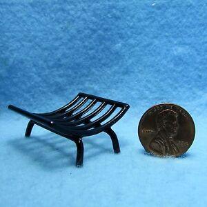 Dollhouse Miniature Metal Fireplace Log Holder in Black IM65830