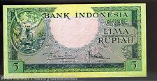 INDONESIA 5 RUPIAH P49 1957 DEER UNC ORANGUTAN ANIMAL SERIES CURRENCY MONEY BILL