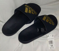 Adidas Adilette Cloudform Womens Black & Gold Sandals Slides BRAND NEW US 11