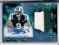 BRYCE PETTY - 2015 Topps Platinum Refractor Rookie 2 Color PATCH AUTO Jets RC