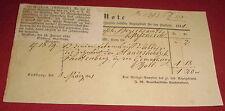 rechnung note großherzogl. badische anzeigenblatt seekreis alt antik 1841 papier