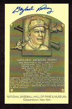 GAYLORD PERRY  SIGNED Hall Fame Plaque HOF Yellow  Postcard Autographed  COA