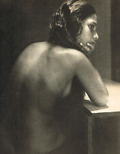 Vintage Lionel Wendt Asian Female Nude Model Thinking Photogravure Photo Print