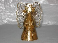 Christmas Angel Gold Colored Metal Tree Topper Ornament Figurine