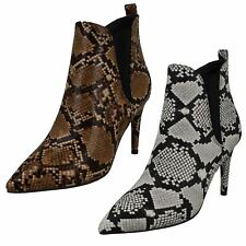 Ladies Spot On Snake Print 'Ankle Boots'