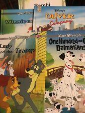 Five Disney Classic Books Lady & The Tramp 101 Dalmatians Oliver Bambi Winnie