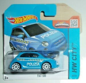 Hot Wheels Fiat 500 Polizia Car #050 HW '15 City Series Blue Short Card VHTF!