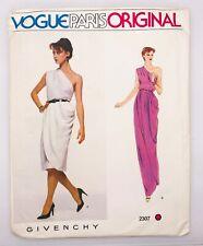 vtg VOGUE Paris Original Sew Pattern 2307 - GIVENCHY One-Shoulder Dress 8 uncut