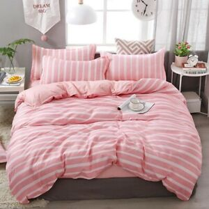 57 Simple Pink Stripes Bedding Sets Linens Twin/Single/Double/Queen/King Size