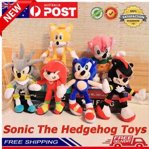 6pcs Sonic The Hedgehog Plush Knuckles Silver Tails Stuffed Teddy Bear Soft Toys
